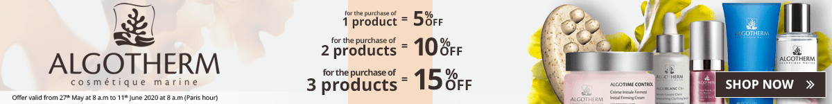 1 Algotherm product purchased = 5% off. 2 Algotherm products purchased = 10% off. 3 Algotherm products purchased = 15% off