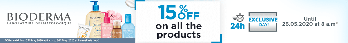 15% off on all the Bioderma products
