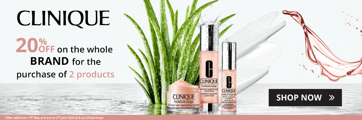 2 Clinique products purchased = 20% off