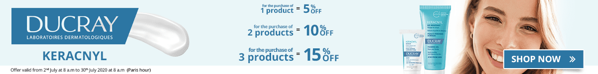 1 Ducray Keracnyl product purchased = 5% off. 2 Ducray Keracnyl products purchased = 10% off. 3 Ducray Keracnyl products purchased = 15% off
