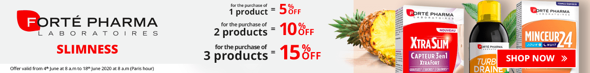 1 Forté Pharma Slimness product purchased = 5% off. 2 Forté Pharma Slimness products purchased = 10% off. 3 Forté Pharma Slimness products purchased = 15% off