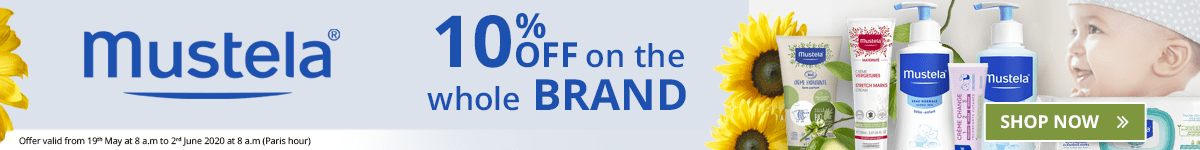 10% off on all the Mustela products