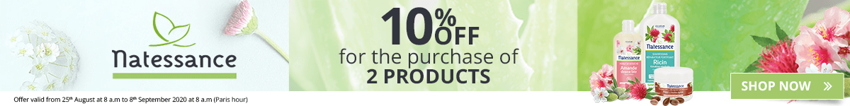 2 Natessance products purchased = 10% off