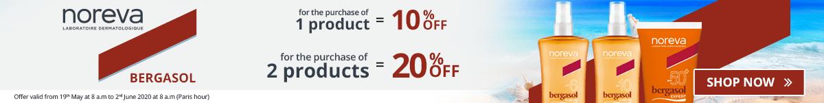 1 Noreva Bergasol product purchased = 10% off. 2 Noreva Bergasol products purchased = 20% off