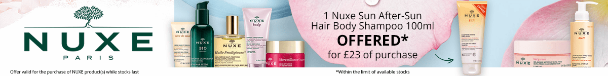 For the purchase of £23 in the Nuxe brand = for FREE: 1 Nuxe Sun After-Sun Hair Body Shampoo 100ml