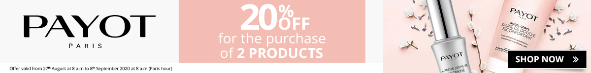 2 Payot products purchased = 20% off
