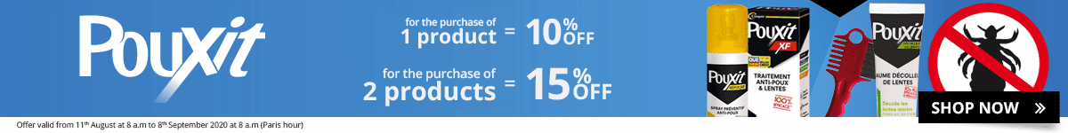 1 Pouxit product purchased = 10% off. 2 Pouxit products purchased = 15% off