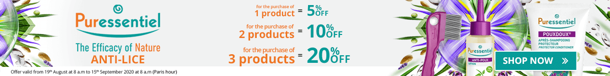 1 Puressentiel Anti-Lice product purchased = 5% off. 2 Puressentiel Anti-Lice products purchased = 10% off. 3 Puressentiel Anti-Lice products purchased = 20% off