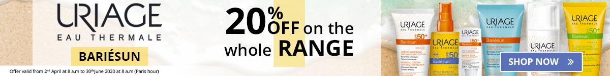 20% off on the whole Uriage Bariésun range
