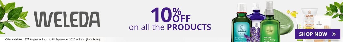 10% off on all the Weleda products