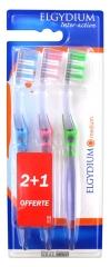 Elgydium Inter-Active Medium Toothbrush 2 Toothbrushes + 1 Free