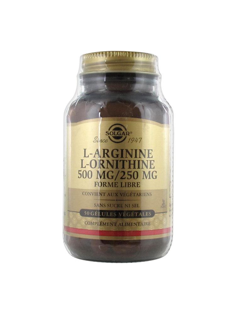 Solgar L-Arginine L-Ornithine 500 / 250 50 Vegetable Capsules