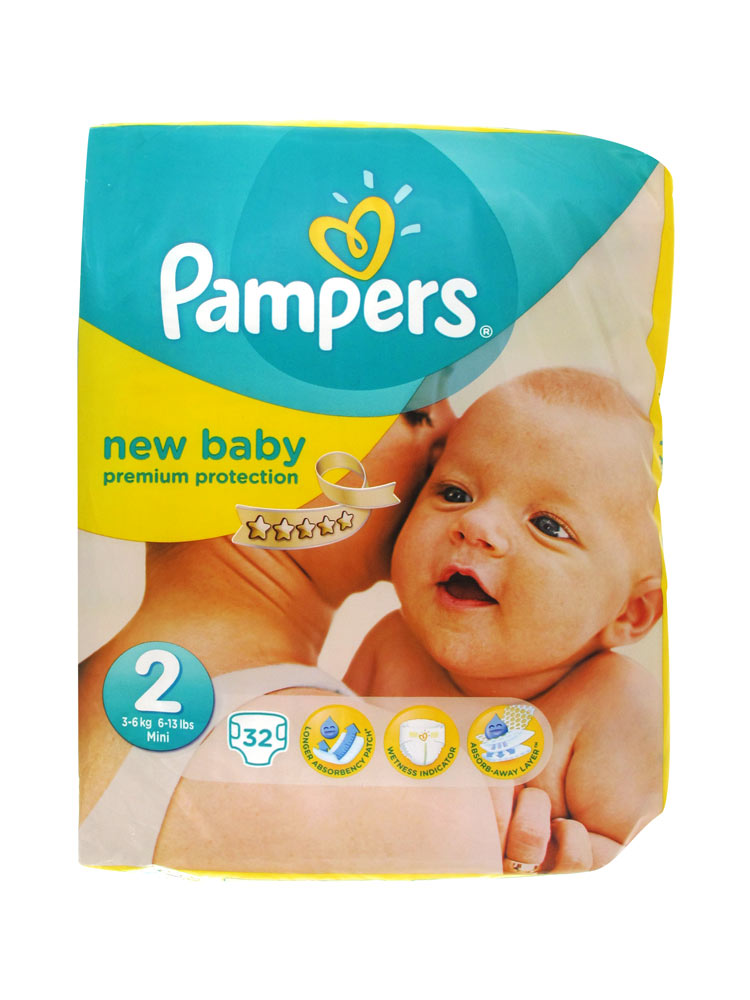 pampers new baby 32 nappies size 2 3 6kg. Black Bedroom Furniture Sets. Home Design Ideas