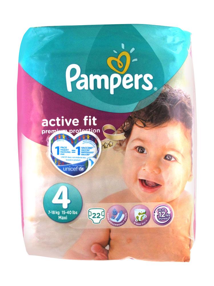 Pampers active fit 22 couches taille 4 7 18 kg - Combien coute un paquet de couche pampers ...