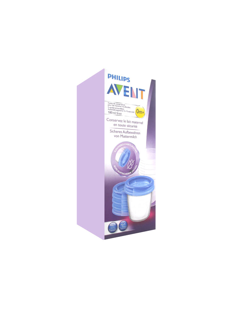 avent pots de conservation lait maternel 180 ml 0 mois et. Black Bedroom Furniture Sets. Home Design Ideas