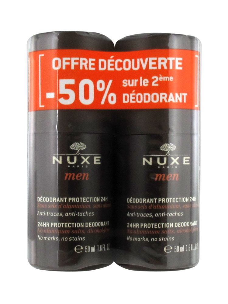 nuxe men 24hr protection deodorant 2 x 50ml. Black Bedroom Furniture Sets. Home Design Ideas
