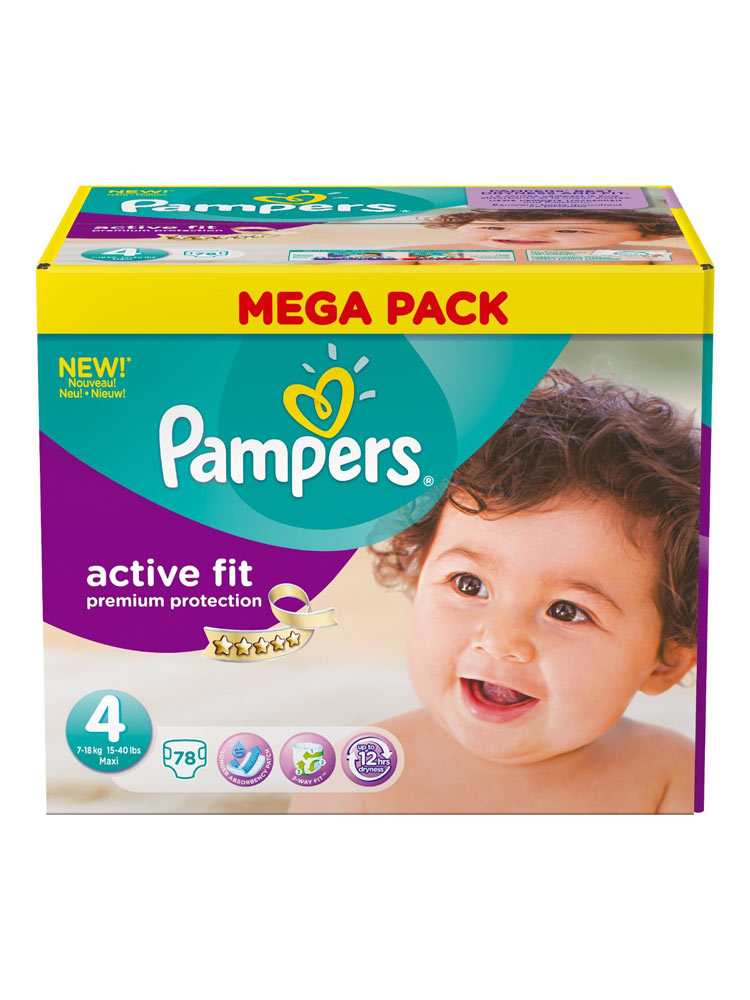 Pampers Active Fit 78 Nappies Size 4 (7-18kg) | Buy at Low ...