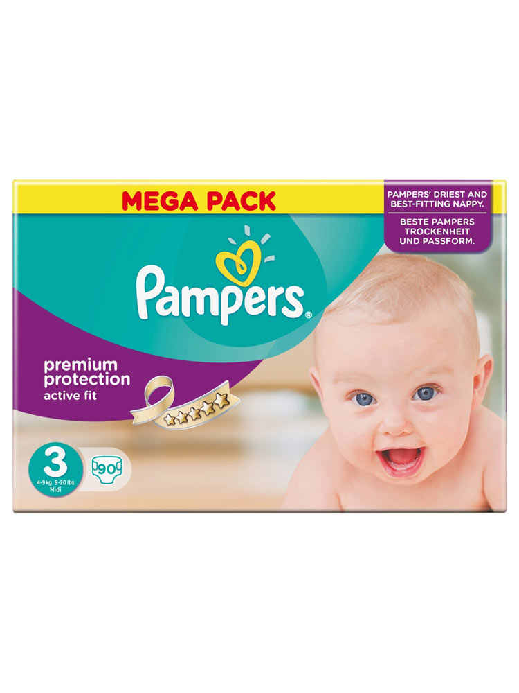 Pampers active fit 90 couches taille 3 4 9 kg - Couches pampers active fit taille 4 giga pack ...