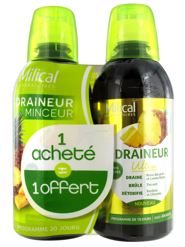 Milical Draineur Ultra Ananas Lot de 2 x 500 ml