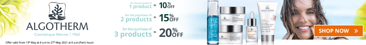 1 Algotherm product purchased = 10% off. 2 Algotherm products purchased = 15% off. 3 Algotherm products purchased = 20% off