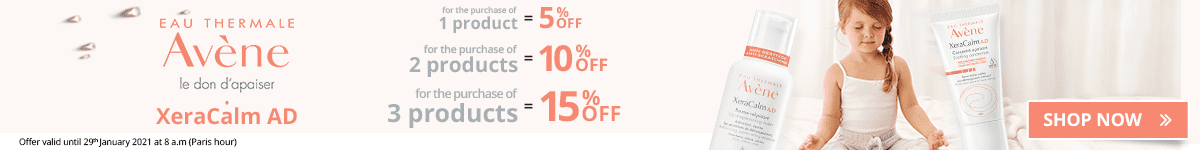 1 Avène XeraCalm AD product purchased = 5% off. 2 Avène XeraCalm AD products purchased = 10% off. 3 Avène XeraCalm AD products purchased = 15% off