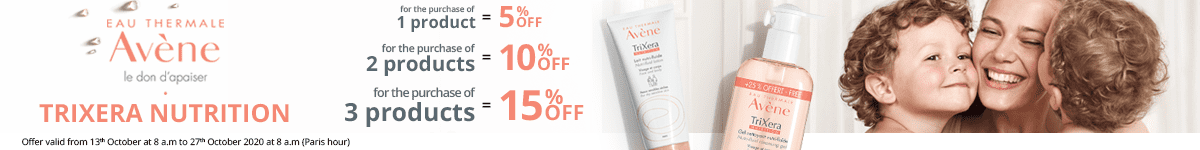 1 Avène TriXera Nutrition product purchased = 5% off. 2 Avène TriXera Nutrition products purchased = 10% off. 3 Avène TriXera Nutrition products purchased = 15% off