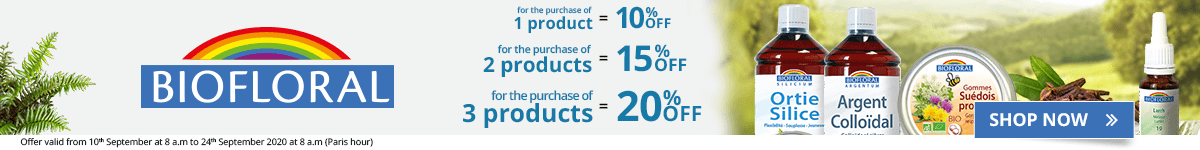 1 Biofloral product purchased = 10% off. 2 Biofloral products purchased = 15% off. 3 Biofloral products purchased = 20% off