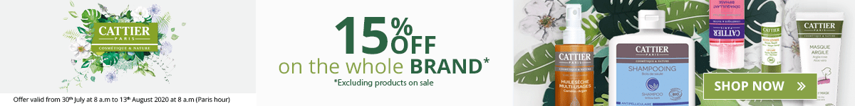 15% off on all the Cattier products