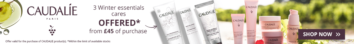 For the purchase of £45 in the Caudalie brand = for FREE: 1 Caudalie Winter Essentials Set