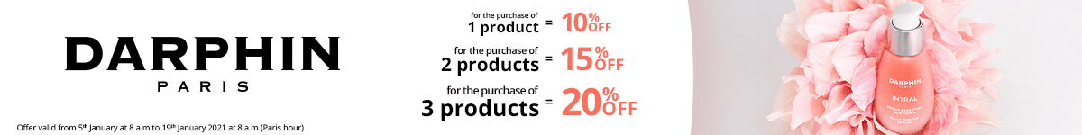 1 Darphin product purchased = 10% off. 2 Darphin products purchased = 15% off. 3 Darphin products purchased = 20% off