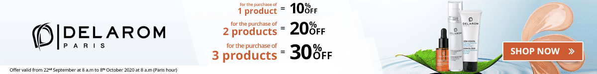 1 Delarom product purchased = 10% off. 2 Delarom products purchased = 20% off. 3 Delarom products purchased = 30% off