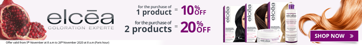 1 Elcéa product purchased = 10% off. 2 Elcéa products purchased = 20% off