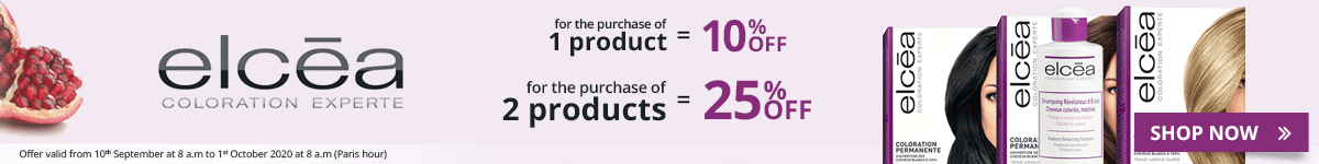 1 Elcéa product purchased = 10% off. 2 Elcéa products purchased = 25% off