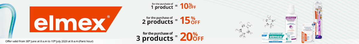 1 Elmex product purchased = 10% off. 2 Elmex products purchased = 15% off. 3 Elmex products purchased = 20% off