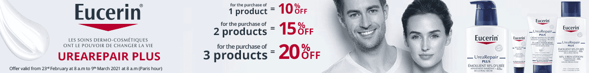 1 Eucerin UreaRepair PLUS product purchased = 10% off. 2 Eucerin UreaRepair PLUS products purchased = 15% off. 3 Eucerin UreaRepair PLUS products purchased = 20% off