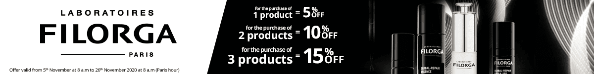1 Filorga product purchased = 5% off. 2 Filorga products purchased = 10% off. 3 Filorga products purchased = 15% off