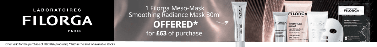 For the purchase of £63 in the Filorga brand = for FREE: 1 Filorga Meso-Mask Smoothing Radiance Mask 30ml