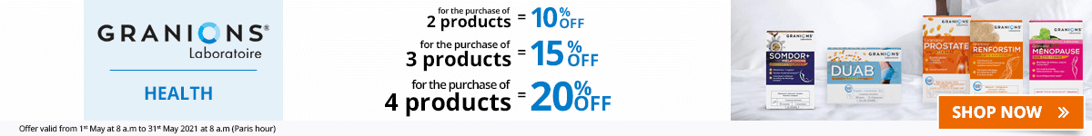 2 Granions Health product purchased = 10% off. 3 Granions Health products purchased = 15% off. 4 Granions Health products purchased = 20% off