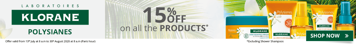 15% off on the whole Klorane Polysianes range (excluding shower shampoos)