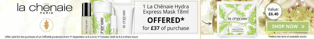 For the purchase of £37 in the La Chênaie brand = 1 FREE La Chênaie Hydra Express Mask 18 ml