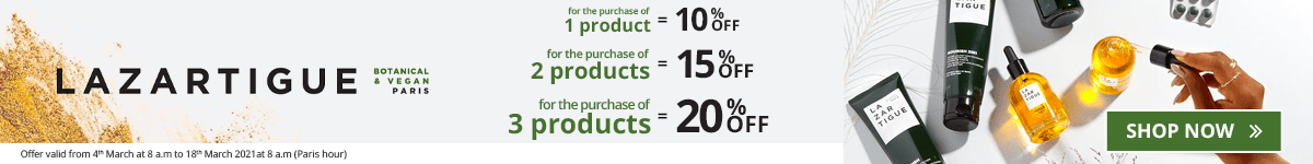 1 Lazartigue product purchased = 10% off. 2 Lazartigue products purchased = 15% off. 3 Lazartigue products purchased = 20% off