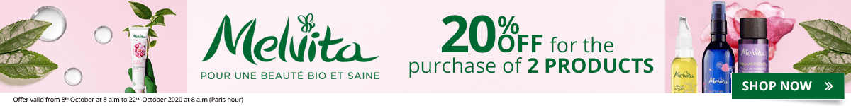 For the purchase of 2 Melvita products = 20% off