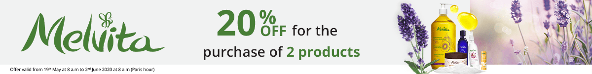 2 Melvita products purchased = 20% off