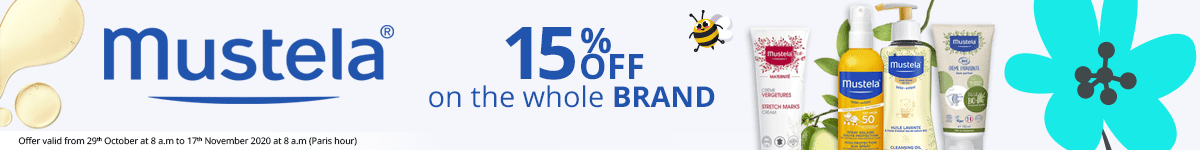 15% off on all the Mustela products
