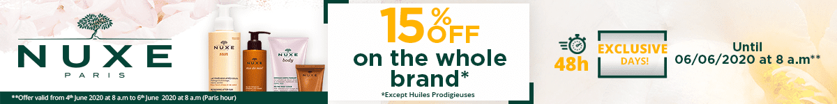 15% off on all the Nuxe products