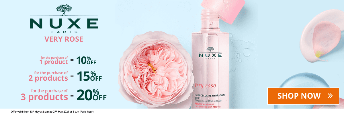 1 Nuxe Very Rose product purchased = 10% off. 2 Nuxe Very Rose products purchased = 15% off. 3 Nuxe Very Rose products purchased = 20% off