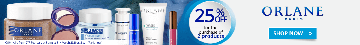 For the purchase of 2 Orlane products = 25% off