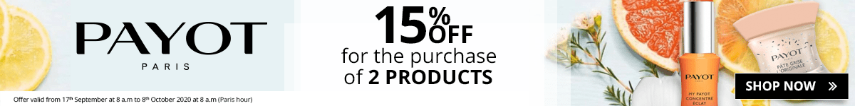 For the purchase of 2 Payot products = 15% off