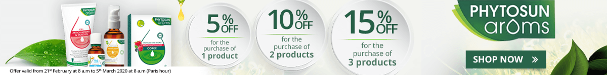 1 Phytosun Arôms product purchased = 5% off. 2 Phytosun Arôms products purchased = 10% off. 3 Phytosun Arôms products purchased = 15% off
