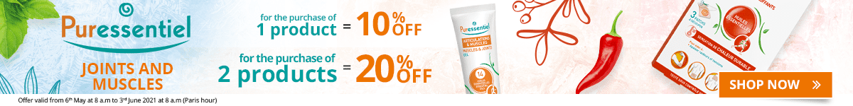 1 Puressentiel Joints & Muscles product purchased = 10% off. 2 Puressentiel Joints & Muscles products purchased = 20% off